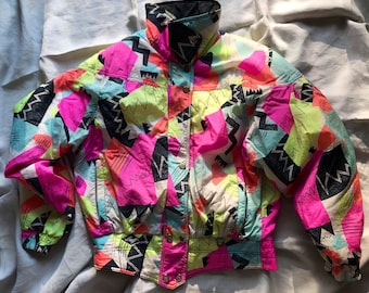 Vintage colorful jacket  80s 90s Bright Abstract Colors Windbreaker  jacket  Button down  Jacket with the hood