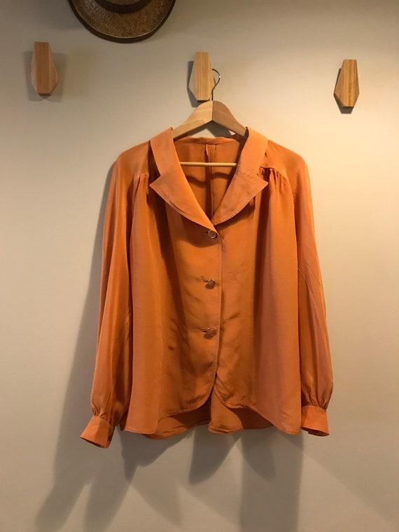 Vintage Blouse/ 1980s Orange Brown Blouse