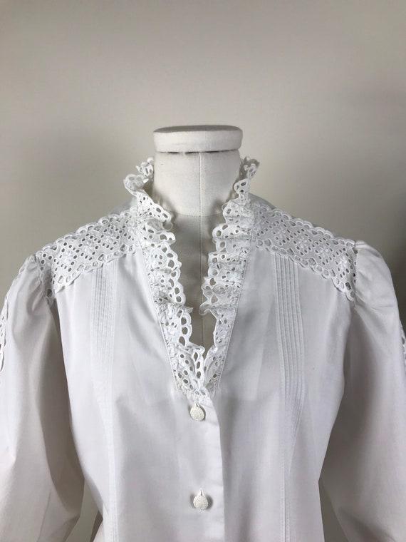 Austrian Folk White Ruffled Collar Blouse
