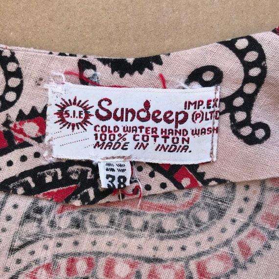 Indian Cotton Sundeep 70's Vintage Dress / Boho I… - image 5