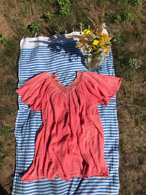 Vintage 80s Bambaki Cotton Greek Dress / Boho Gauz