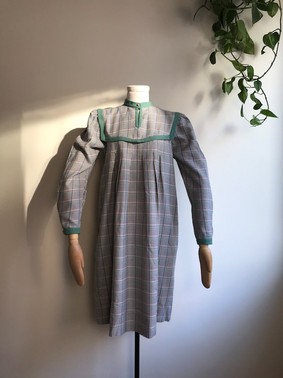 Green Puff Sleeved Check Dress EU size 36/38