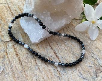 Black Tourmaline, Selenite & Hematite Anklet   Natural Gemstone   Triple Protection   Purify   Calming   Deflect Negativity   Grounding