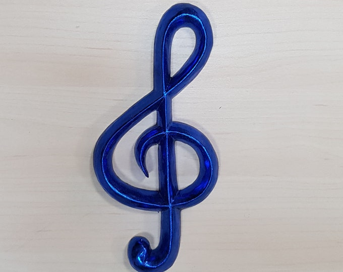 23cm Blue Gilded Wooden Treble Clef Symbol