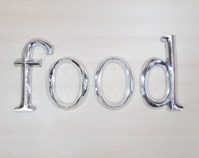food - 4 x 23cm Silver Gilded Wooden Letters / Symbols