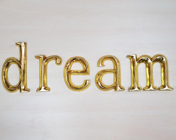 dream - 5 x 23cm Gold Gilded Wooden Letters / Symbols