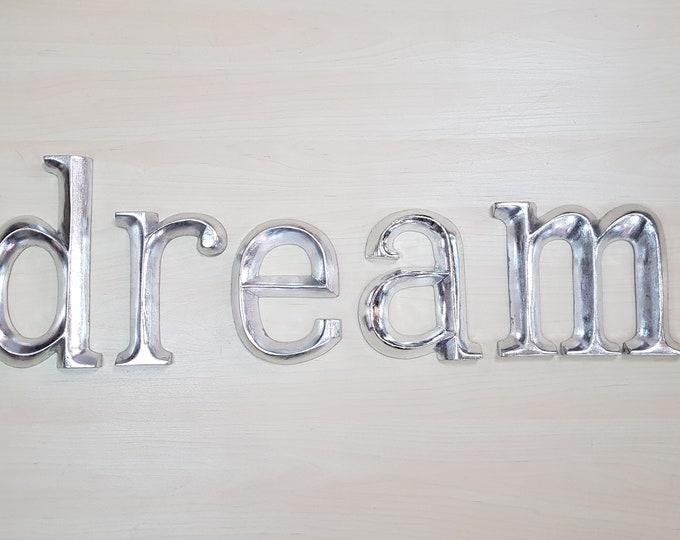 dream - 5 x 23cm Silver Gilded Wooden Letters / Symbols