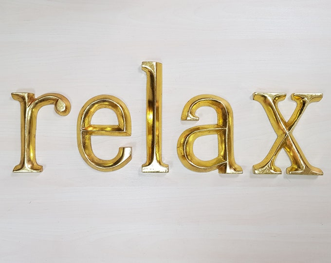 relax - 5 x 23cm Gold Gilded Wooden Letters / Symbols