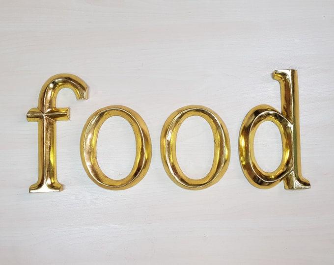 food - 4 x 23cm Gold Gilded Wooden Letters / Symbols