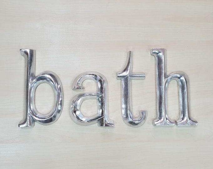 bath - 4 x 23cm Silver Gilded Wooden Letters / Symbols