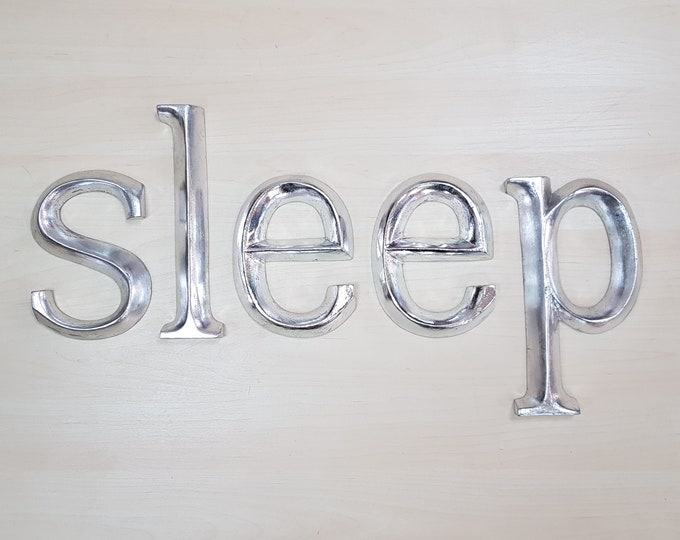sleep - 5 x 23cm Silver Gilded Wooden Letters / Symbols