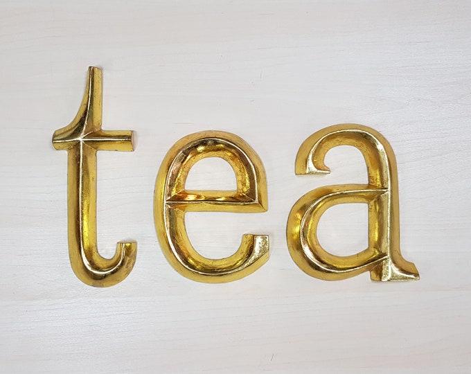 tea / eat - 3 x 23cm Gold Gilded Wooden Letters / Symbols