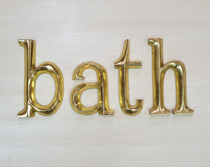 bath - 4 x 23cm Gold Gilded Wooden Letters / Symbols