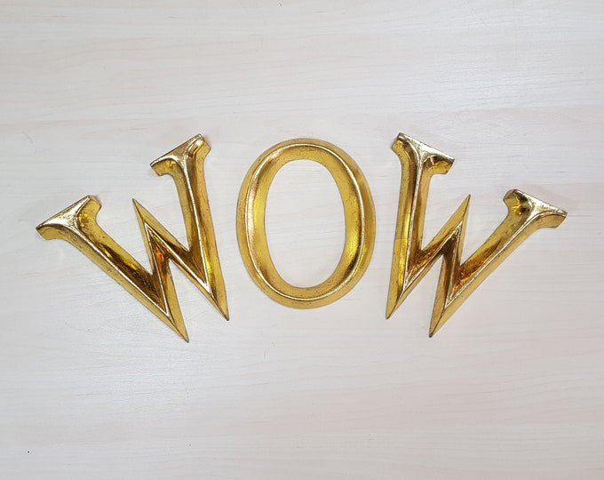 wow - 3 x 16.5cm Gold Gilded Wooden Letters / Symbols