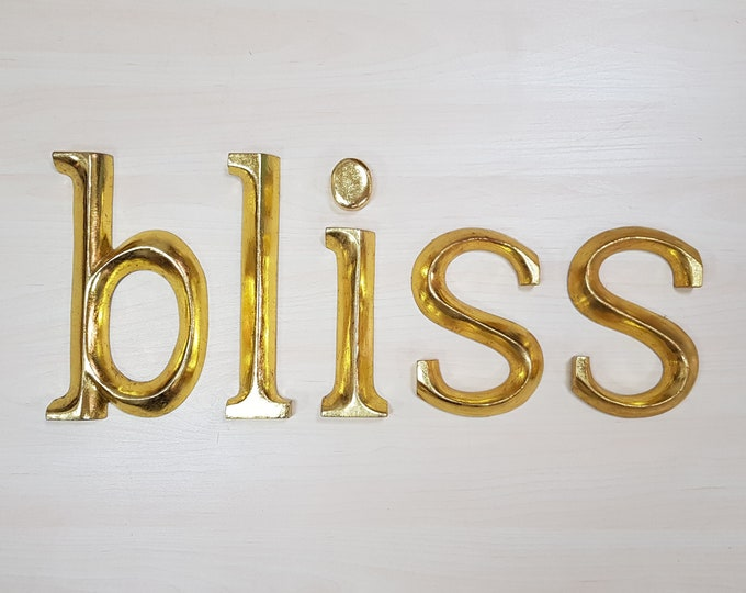 bliss - 5 x 23cm Gold Gilded Wooden Letters / Symbols