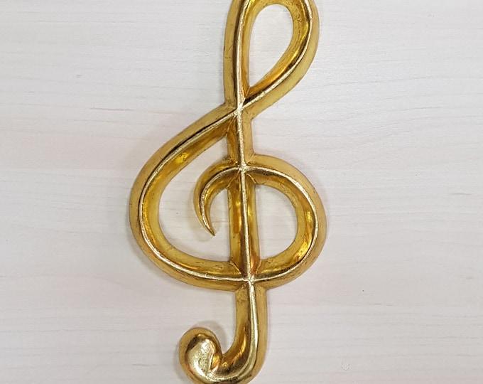23cm Gold Gilded Wooden Treble Clef Symbol