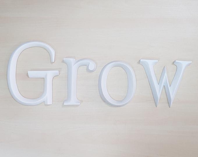 Grow - 4 x 23cm Matt White Wooden Letters / Symbols