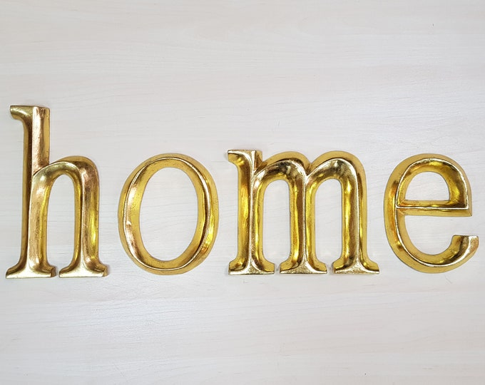 home - 4 x 23cm Gold Gilded Wooden Letters / Symbols