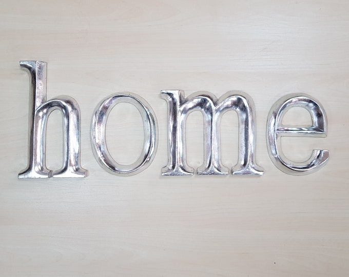 home - 4 x 23cm Silver Gilded Wooden Letters / Symbols