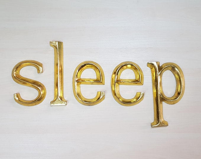 sleep - 5 x 23cm Gold Gilded Wooden Letters / Symbols