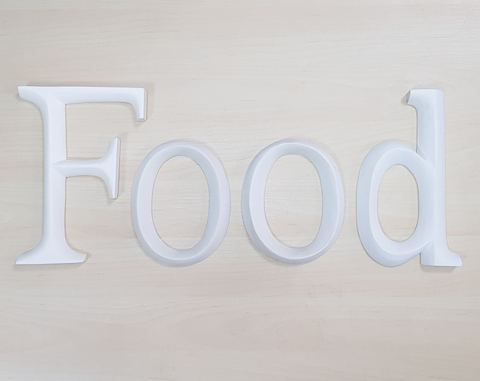 Food - 4 x 23cm Matt White Wooden Letters / Symbols
