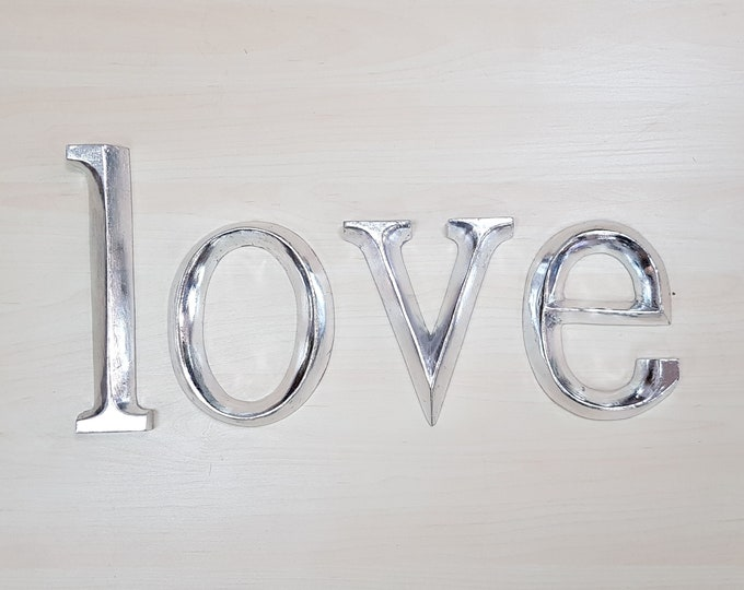 love - 4 x 23cm Silver Gilded Wooden Letters / Symbols