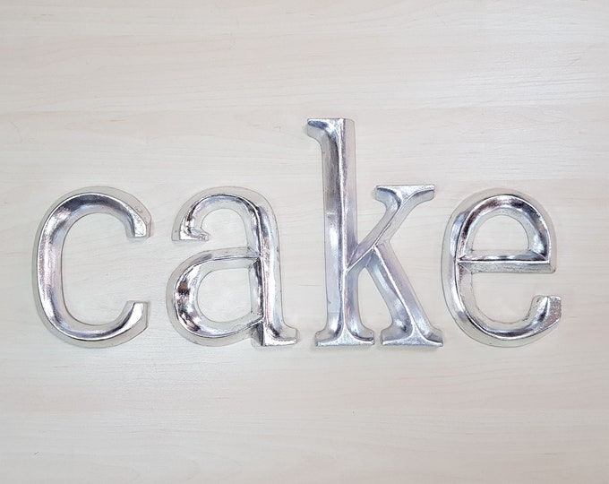 cake - 4 x 23cm Silver Gilded Wooden Letters / Symbols