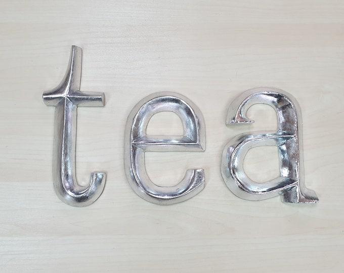 tea / eat - 3 x 23cm Silver Gilded Wooden Letters / Symbols