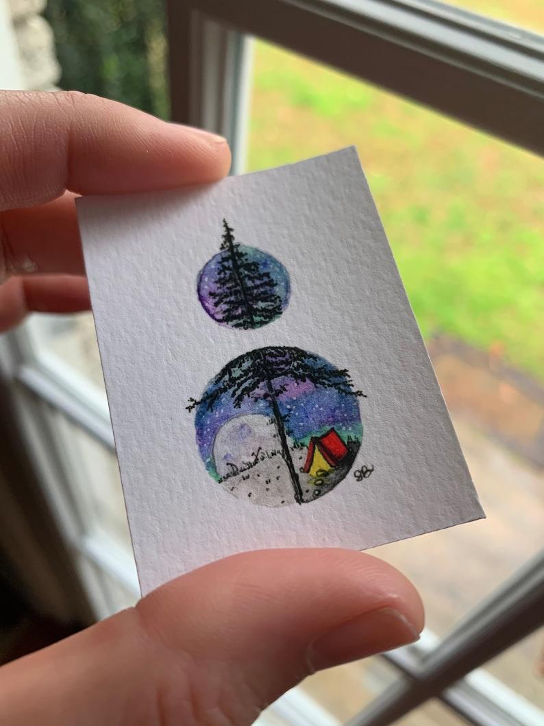 tiny art Peekaboo Campground PRINT
