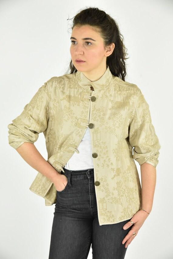 Vintage 90's Chico's Tan Jacket Size 2 - image 2