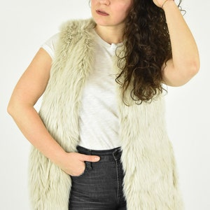 Faux Fur Vest Beige Cream White Long Fake Fur Hipster Boho Bohemian Warm Winter Vest Vintage Rocker Faux Fur Vest Game of Thrones Size XL