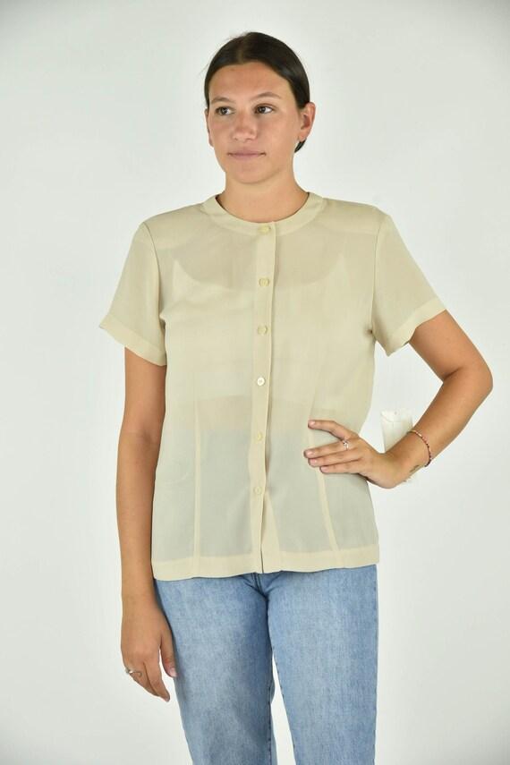 Vintage 90's Chaus Tan Shirt Size 10 - image 1