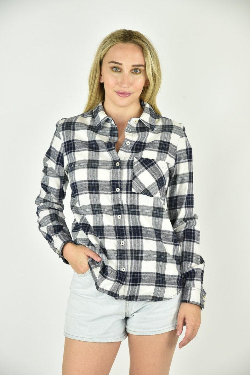 Vintage 90/'s Forever 21 Blue Plaid Buttondown Shirt Size MED