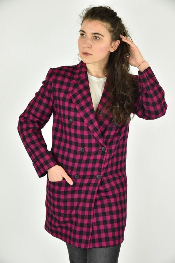 Vintage 80's Christian Dior Pink Plaid Suit Coat S