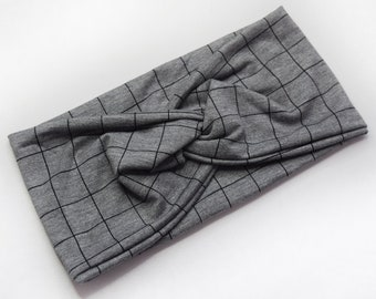 Squares on Heathered Grey | Willow our Twist Headband | Bamboo Collection