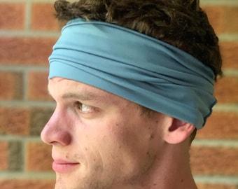 Dusty Blue | Wide Athletic Headbands | Cedar our Wide Multi-Way Headband | Fitness Headbands for Men & Women