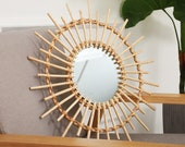 Hand made home stay decorative mirror Nordic rattan mirror wall decoration wall hanging photography props wall hanging