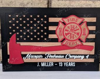 Personalized Maltese Cross Firefighter Sign- Firefighter flag, firefighter retirement gift, fire station, firefighter decor