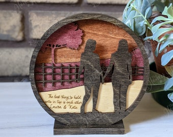 Female Couple - Walking Together Layered Desk Sitter - Anniversary - Engagement - Valentine's Day, lesbian couple, together, love, celebrate