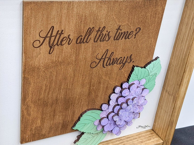 after all this time personalized names marriage valentine/'s Hydrangeas Anniversary gift Romantic Floral Framed Art Quote always
