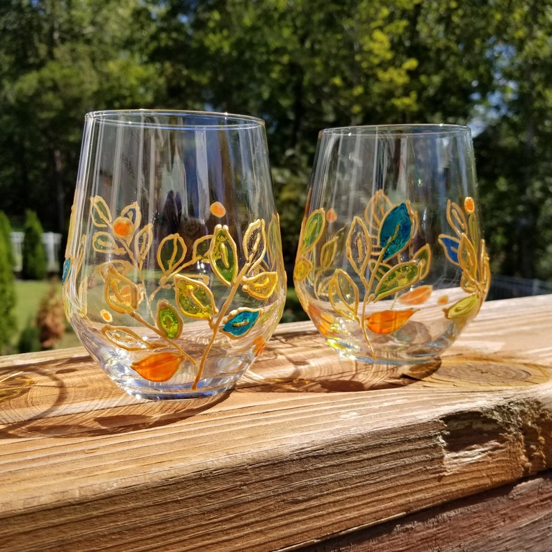 Set of leaves theme glasses Mom gift hand painted wine glasses set with stained glass effect and gold outlines