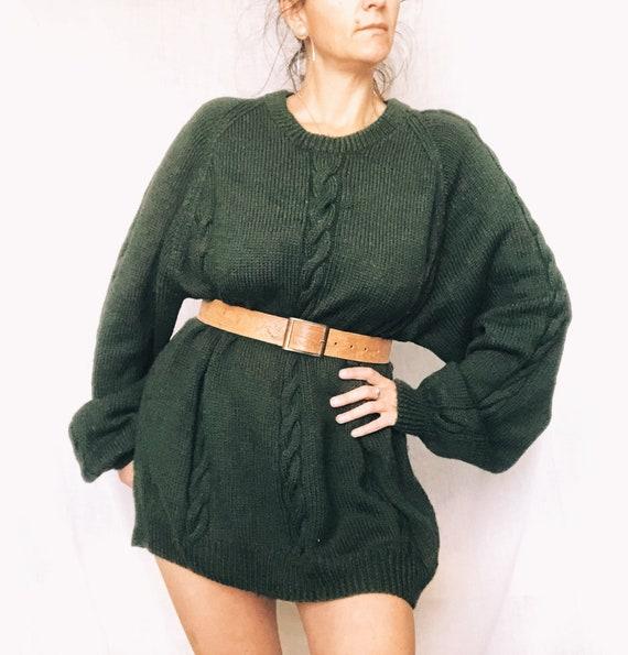 Oversized hand knitted green jumper dress