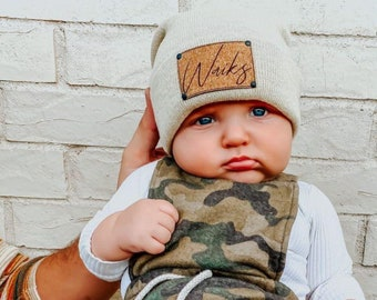 Signature Cursive | Custom Infant Toddler Kids Youth Child Baby Newborn Beanie | Slouchy | Personalized Name | Vegan Leather Patch