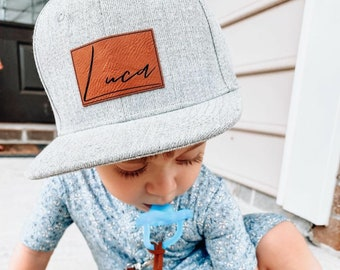 Signature Cursive | Custom Infant Toddler Kids Youth Baby Snapback Hat | Child Cap | Personalized Name | Flat Bill | Vegan Leather Patch