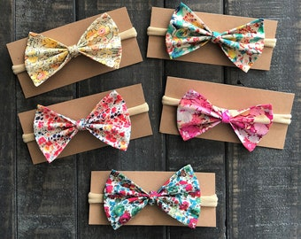baby shower gift idea floral bow girl hair accessory newborn gift idea pink bow Betsy fabric Baby bow headband liberty of London fabric