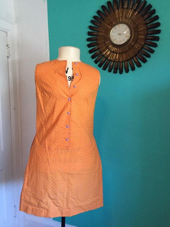 60s Vintage Polka-dot Orange and Purple