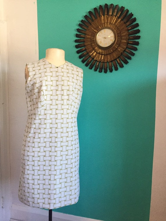 60s Vintage Green and White Mod dress