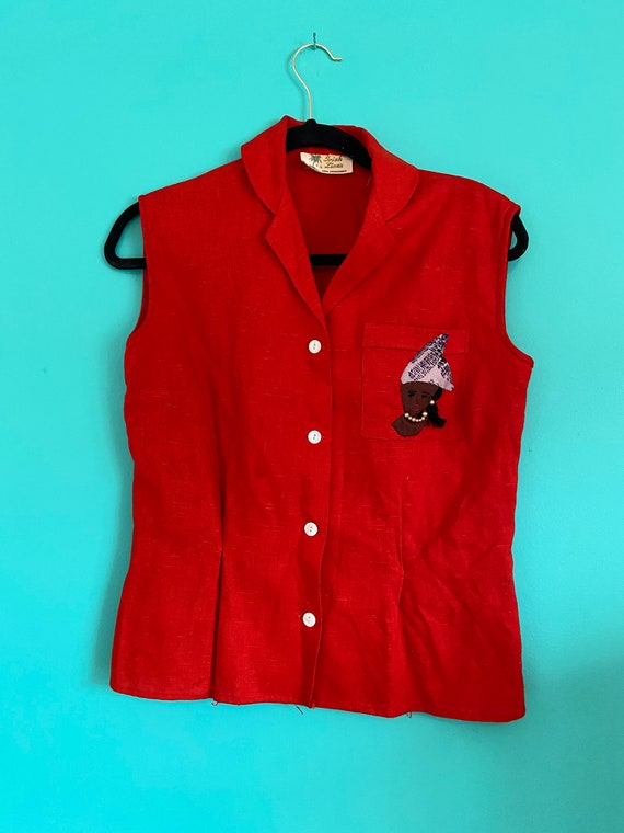 50s Vintage Linen Top Red