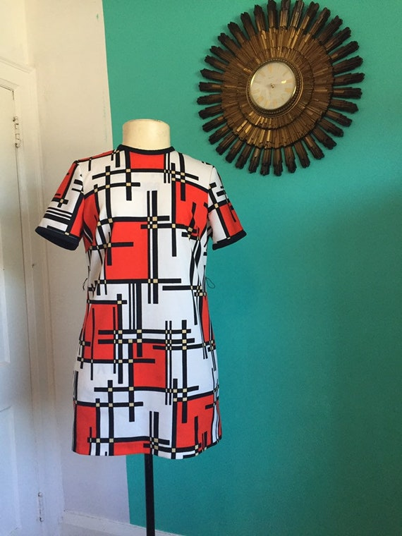 60s Vintage abstract dresss - image 1