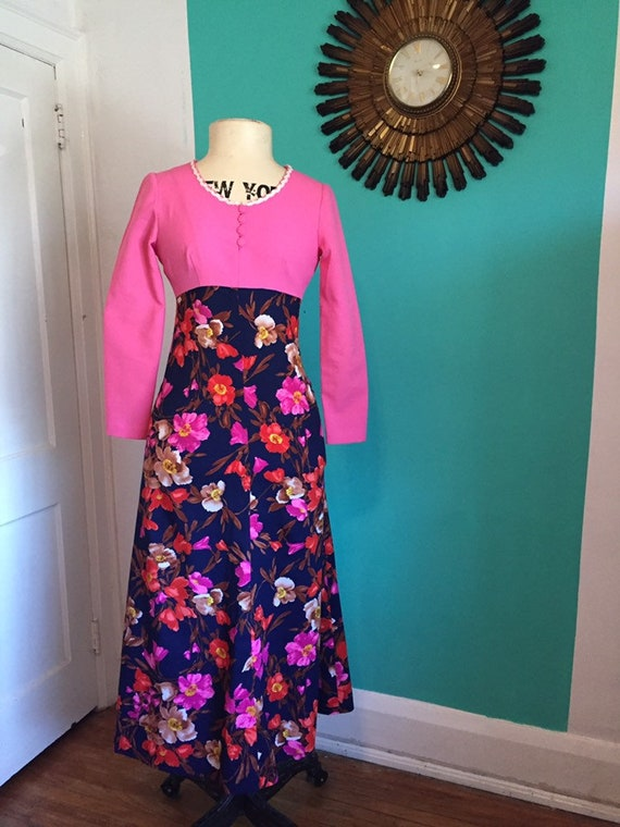 70s Vintage Pink and Floral Maxi dress